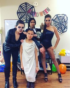 Squad Halloween costumes -- Dobby, ghost rider, Beyonce, Wednesday Addams