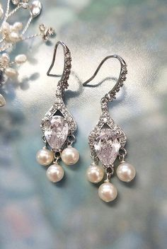 Lux Pearl Earrings with CZ Teardrops by One World Designs Bridal Jewelry