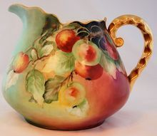 Antique Bavaria Cider Pitcher Hand Painted Apples ca. 1909