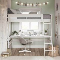 Loft Beds For Small Rooms, Loft Beds For Teens, Bed For Girls Room, Small Room Bedroom, Room Ideas Bedroom, Bedroom Loft, Girl Room, Loft Bed Room Ideas, Girl Loft Beds