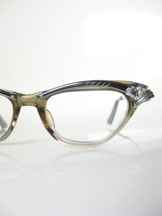 5b1b3fcad4 Vintage 1950s Century Cat Eye Glasses Eyeglasses 50s Mid Century Optical  Frames Rhinestones Chrome Shiny USA. Anteojos ...