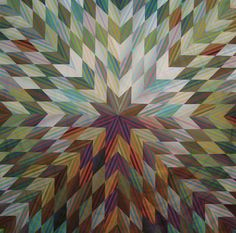 """110"""" x 110"""", 2007 by Jan Krentz with Lynne Lichtenstern, Poway, CA. Machine quilting by Debra Geissler, Littleton, CO. She worked with a wonderful palette of Michael James' Colorstripes printed fabrics."""