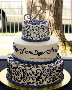 3 tier wedding cake-ex the monogram cake topper