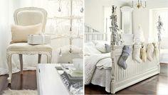 White shabby chic Christmas bedroom