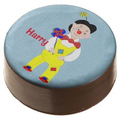 A fun and colorful personalized birthday cookies with a jolly circus clown, so cute and a favorite with young boys and girls alike; just customize it with your child's name or text of your choice.