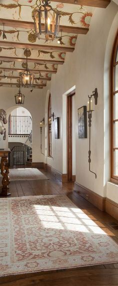 Ceiling detail- Mediterranean Equestrian Estate, Carmel, California - mediterranean - Hall - Other Metro - John Malick & Associates Spanish House, Spanish Style, Spanish Revival, Foyer Staircase, Staircases, World Decor, Colored Ceiling, Mediterranean Design, Entry Hall