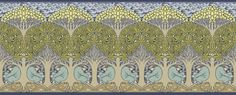 """This design debuted in 1893 in an article entitled """"An Interview with Mr. CFA Voysey"""" in the first volume of what was to become the most important design periodical of the Arts and Crafts Movement, The Studio magazine. The pattern filled three quarters of the first page! The childlike medievalism of """"The Minstrel"""" with its rich colors and simple repeating nature evokes a fresh and uncluttered view of a stylized English countryside. This pattern may be used as a border or may be scaled up to…"""