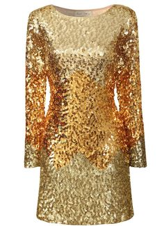 Gold Tonal Ombre Sequin Dress