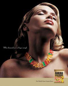 """When diamonds are no longer enough."" Haribo - the world's finest gummi bears Haribo Gummy Bears, Best Gummy Bears, Haribo Gold Bears, Clever Advertising, Advertising Campaign, Advertising Poster, Ad Of The World, Best Ads, Glamour Shots"