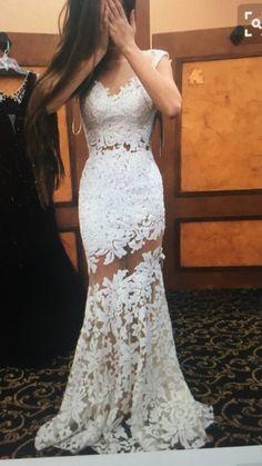 White Lace Prom Dresses,Mermaid Prom Dresses,Long Evening Dresses,2017 Senior Prom Gowns,2004