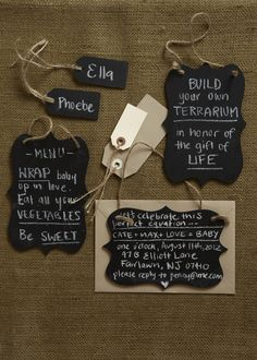 Chalk Signs. For an eco-friendly, green baby shower, what's better than reusable signs and menus for guests?