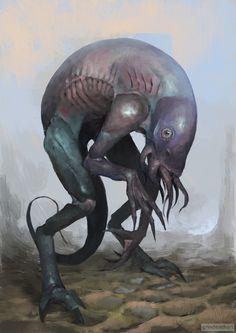 Oleg Bulakh (@grindeath3) / Twitter Monster Art, Monster Concept Art, Alien Concept Art, Creature Concept Art, Fantasy Monster, Monster Design, Humanoid Creatures, Alien Creatures, Fantasy Creatures