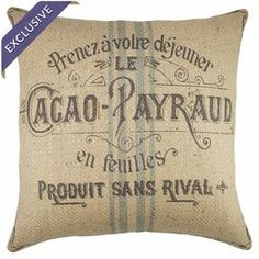 "Bring a pop of style to your arm chair, sofa, or window seat with this chic burlap pillow, showcasing a vintage-inspired French typography motif. Handmade in the USA.   Product: PillowConstruction Material: Burlap coverColor: Brown, blue and beigeFeatures: Zipper enclosureInsert included Handmade by TheWatsonShop  Made in the USA Dimensions: 16"" x 16""Cleaning and Care: Spot clean"