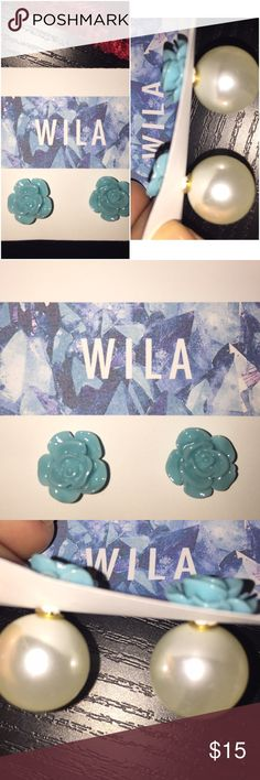 Wila blue Pearl bubble Pearl stud earrings. NWT Cool and pretty bubble ball earrings. Features blue rose studs with bubble Pearl backing. Alloy metal and lead free. Brand new. Accepts reasonable offers. trades or holds please. Wila Jewelry Earrings