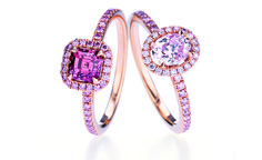Aura fancy color diamond engagement rings starting from center diamond set in pink gold, price upon request; Adonis rose solitaire fancy color diamond ring pink diamond set in platinum with diamond melee, price upon request, De Beers Pink Diamond Engagement Ring, Pink Diamond Ring, Designer Engagement Rings, Pink Diamonds, Solitaire Diamond, Pink Sapphire, Pink Engagement Rings, Sapphire Rings, Solitaire Rings