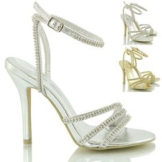 WOMENS DIAMANTE STRAPPY HEELS LADIES PROM PARTY WEDDING BRIDAL SANDALS SHOES 3-8