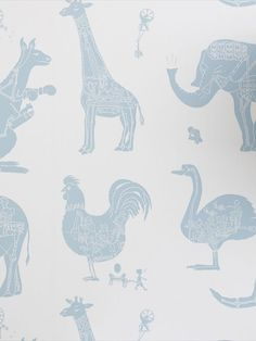 With a lovely off white background and powder blue animatronic animals it will perk up any kid's room. A wallpaper that makes the world just that little bit lovelier. Girls and boys alike will just love it. This quality wallpaper benefits from being a paste the wall paper, which means it is incredibly easy to apply and work with whilst decorating. It will also stand the test of time and is easy to remove at a later date. Words Wallpaper, Animal Print Wallpaper, Wallpaper Samples, Wild Creatures, Safari Animals, Stuffed Animal Patterns, It Works, Moose Art, Boys