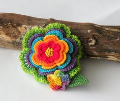 Crocheted colorful flower hair clip or by DAINTYCROCHETBYALY