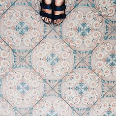 The phenomenon of snapping photos of beautiful floors, sometimes featuring feet or furniture, has officially gone viral. Theres definite allure in the faded tiles at Italys Hotel Terme Principe in Ischia. Wide Plank Flooring, Stone Flooring, Floor Patterns, Tile Patterns, Floor Design, Tile Design, Surface Design, House Tiles, Color Tile