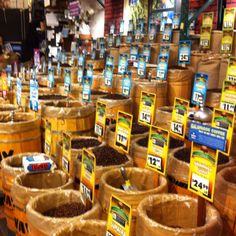 The coffee bean display at Fairway Market in Plainview www.fairwaymarket.com