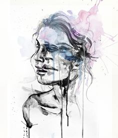 Shiver - by agnes-cecile black ink, black watercolor, white and black pens blue and pink watercolor add on photoshop original painting: 35cm x 45cm