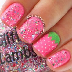 Hot Pink Strawberry Nails