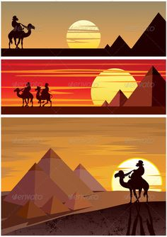The Pyramids #GraphicRiver Set of 3 cartoon landscapes with the Egyptian Pyramids. No transparency used. Basic (linear) gradients. CDR , AI, EPS and JPEG files. Created: 14May12 GraphicsFilesIncluded: JPGImage #VectorEPS #AIIllustrator Layered: Yes MinimumAdobeCSVersion: CS Tags: Cairo #ancient #arab #arabian #background #banner #camel #caravan #cartoon #clipart #clipart #desert #designelement #dusk #egypt #egyptian #giza #great #horizontal #illustration #landscape #monument #pyramid #rider…