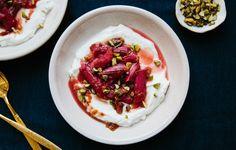 Roasted Spiced Rhubarb with Dates and Yogurt - GF Use Dairy Free Yoghurt for a Dairy Free Option