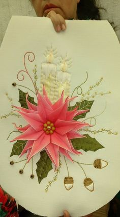 home sweet home. Christmas Themes, Christmas Crafts, Xmas, Diy Crafts For Gifts, Silk Ribbon Embroidery, Fabric Painting, Fabric Flowers, Embroidery Designs, Lily