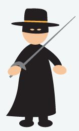 DIY Halloween Costume: Zorro - Wear all black for this one. Get an eye mask and a wide rim black hat (craft or costume store). Carry around a fake sword for the extra effect.