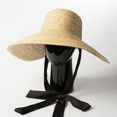 07fca834 Hat Brim Wide Sun Cap Handmade Elegant 1920-Inspired Straw Beach Women  Floppy #VintageFactory