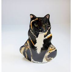 Calico Cat Vintage Ceramic Vase, Tortoise Shell Feline Kitty Cat Cats... (€13) ❤ liked on Polyvore featuring home, home decor and vases