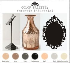 color palettes for industrial design | Color palette I'm loving lately: romantic industrial. Peaches, buffs ...