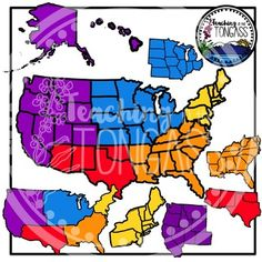 This 24 piece United States regions clipart bundle includes hand-drawn, colorful regions of the United States!  It includes 13 individual, colored clip art graphics (as seen in the preview) and 11 individual black and white clip art graphics (1 of each).