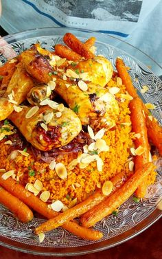 Lekker voor de zomer: Couscoussalade met harissa kip van de bbq, gekarameliseerde ui en worteltjes uit de oven! :D