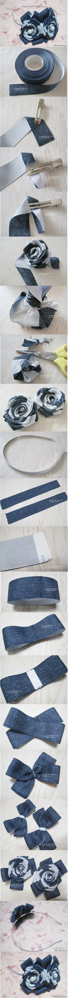 DIY Herringbone Ribbon Roses DIY Projects | UsefulDIY.com Follow Us on Facebook --> https://www.facebook.com/UsefulDiy