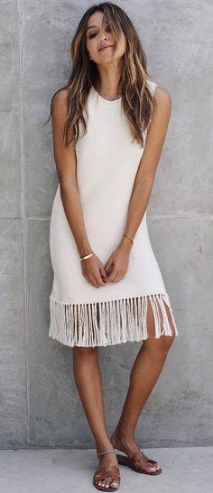 simple summer dress with fringe hem