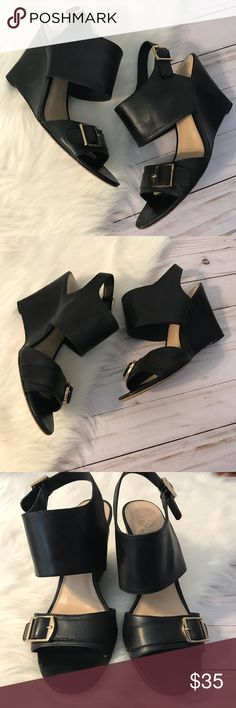 Vince Camuto Leather Wedge Sandals Heels Great condition with a few bumps.  Absolutely stunning. Vince Camuto Shoes Wedges