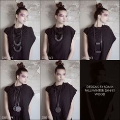 Wood: Distressed leather, wood and pressed brass necklaces