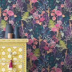Peggy by bluebellgray - Midnight : Wallpaper Direct Watercolor Wallpaper, Print Wallpaper, Watercolor Design, New Wallpaper, Watercolour, Hallway Wallpaper, Bluebellgray, Pink Carnations, Hallway Designs