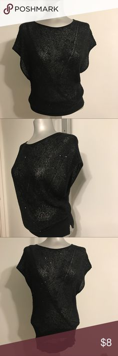 2Be XS Black knit Top Sleeveless black knit top, with random sequins here and there for some sparkles. Labeled as XS but defiantly fit someone who's a SM. Worn w bra or tank underneath , paired w jeans or shorts for casual look or with pencil skirt for more office attire. Slightly worn. Maybe like 2 times at best. 2Be Other