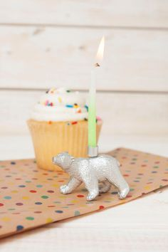 Gold or Silver Polar Bear Candle Holder, Gold Animal Party Decor, Metallic Bear Candle Holder, Zoo Animal Party Decor, Gold Cupcake Topper, by TulleandWrench on Etsy https://www.etsy.com/listing/236983954/gold-or-silver-polar-bear-candle-holder