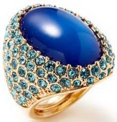 Kenneth Jay Lane Gold & Blue Resin Oval Shaped Ring. Via Gilt.