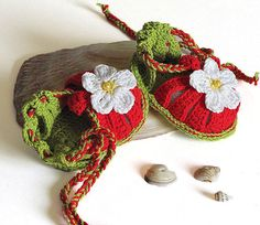Baby summer sandals Red Strawberry, crochet baby shoes baby girls newborn  / size 0-3M via Etsy