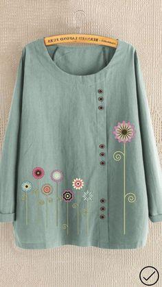 Plus Size Tops Linen Cotton Women Fashion Shirts Floral Printed Long Sleeve Button T Shirt Casual O Neck Shirt Loose Blouse Kurta Designs, Blouse Designs, Casual Tops, Casual Shirts, Cheap Long Sleeve Shirts, Bluse Outfit, Designer Kurtis, Embroidered Clothes, Summer Blouses