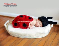 Crochet Baby Hat, Ladybug Set, Red & Black, Newborn Photography Prop. $25.00, via Etsy.