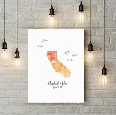 Watercolor state guest book alternative Wedding map guest book