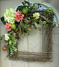 similar to Fruit & Flowers square wreath. Gorgeous for year round use. Spring wreaths, summer Wreath, Mother's Day Gift, unique, one of a kind on Etsy Deco Floral, Arte Floral, Fruit Flowers, Spring Flowers, Diy Flowers, Wreath Crafts, Diy Wreath, Door Wreaths, Wreath Ideas