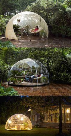The garden igloo is a transparent canopy for your g . - The garden igloo is a transparent canopy for your G … # Canachin … - Backyard Canopy, Backyard Landscaping, Garden Canopy, Pvc Canopy, Pvc Tent, Backyard Lighting, Romantic Backyard, Canopy Crib, Beach Canopy