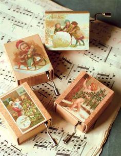 Adorable Vintage Look Christmas Holiday Hurdy Gurdies/Music Boxes Set of 4